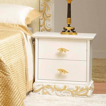 Bedside 2 sertare din lemn, cu decorațiuni de aur Kush, realizate în Italia