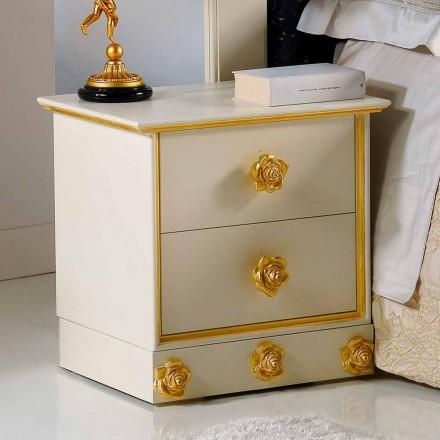 Bedside 2 sertare din lemn cu butoni în formă de trandafiri Renoir