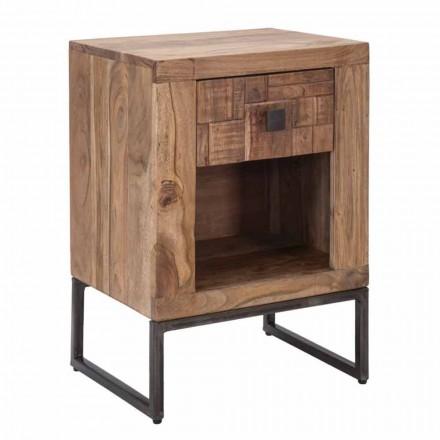 Noptiera design cu sertar din lemn de salcam si fier - Dionne