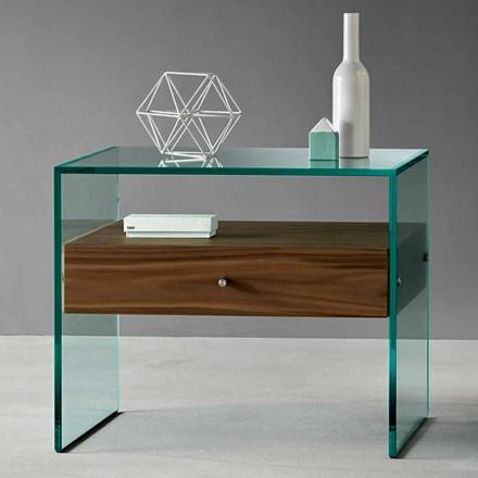 Masă laterală de design modern din sticlă extrașară Realizată în Italia - Segreto