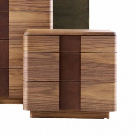 Noptieră din lemn masiv de design modern Grilli York realizată în Italia