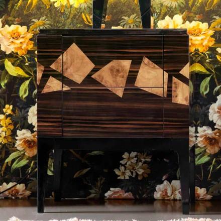 Noptiera in lemn de nuc si lemn de abanos Grilli Zarafa fabricata in Italia
