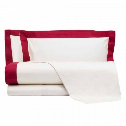 Set de foi din satin pentru pat dublu cu margini colorate - jacintină