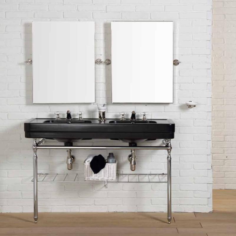 Compoziție de baie cu consola neagră dublă structură dublă