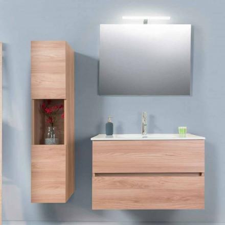 Dulap de baie 90 cm, bazin Wah, oglindă și coloană - Becky