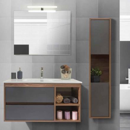 Dulap de baie 100 cm, lavoar, oglindă și coloană - Becky
