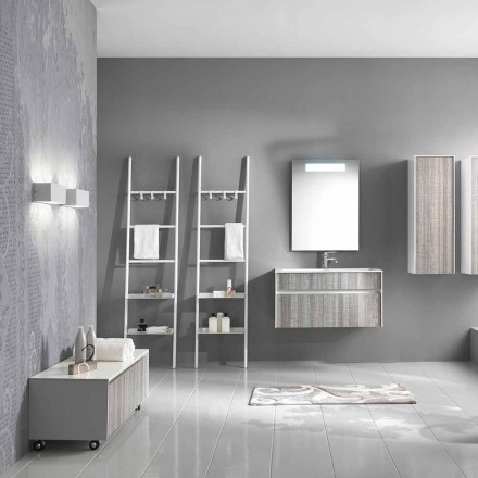 Compoziție de baie suspendată Mobilier de design modern alb și lemn - Rossana