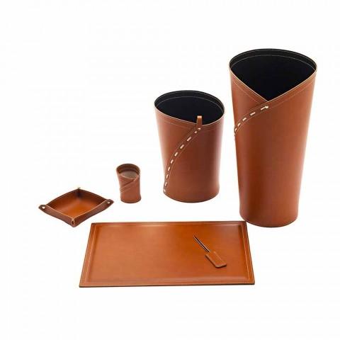 Compoziție modernă de birou de design în piele confecționată în Italia - Giulio
