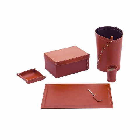 Compoziție modernă de birou de design în piele fabricată în Italia - Andrea