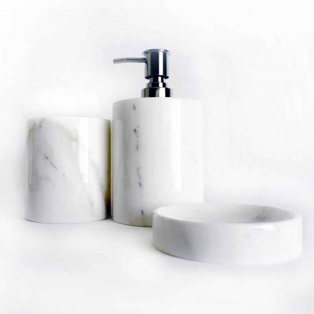 Compoziția a 3 accesorii de baie din marmură lustruită Made in Italy - Trevio