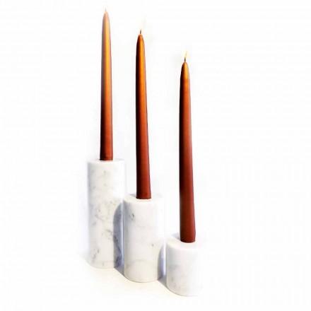 Compoziție a 3 suporturi pentru lumânări din marmură albă de Carrara fabricate în Italia - Astol