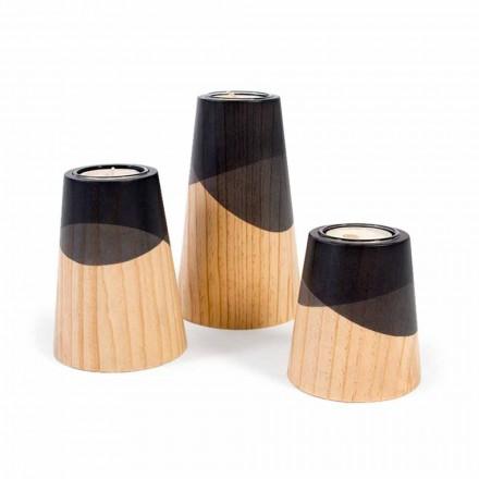 Compoziția a 3 suporturi de lumânări moderne din lemn masiv de pin - alb