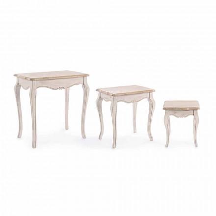 Compoziția a 3 mese de cafea din lemn de design clasic Homemotion - clasic