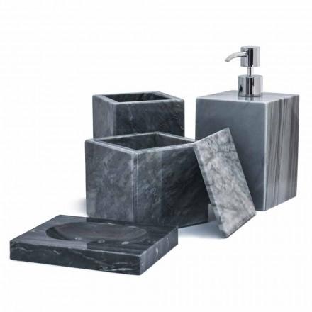 Compoziție de accesorii pentru baie de marmură Realizate în Italia, 4 bucăți - Deano