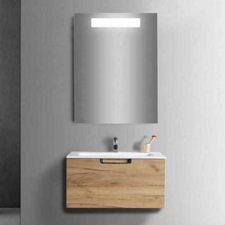 Comodă dulap de baie din oglindă din lemn și design modern - Gualtiero