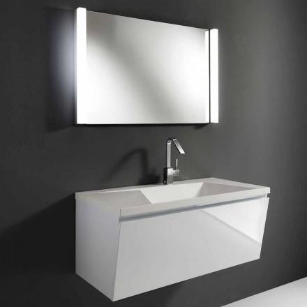 Compoziție modernă albă mobilă suspendată pentru baie cu oglindă LED - Desideria