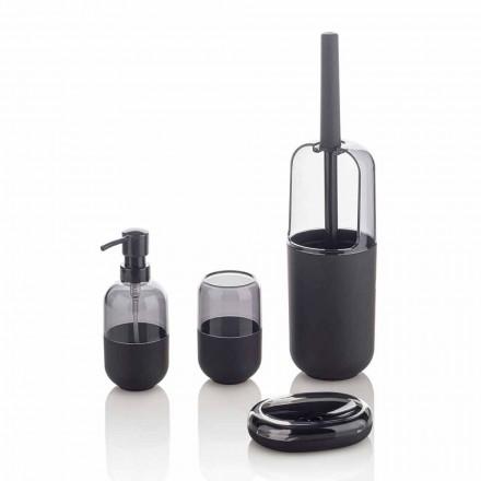Compoziția modernă a accesoriilor de baie din plastic și cauciuc negru - Noto
