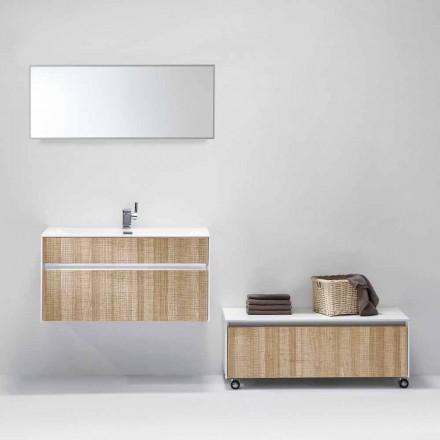 Compoziție suspendată de mobilier de baie cu oglindă design modern - Rossella