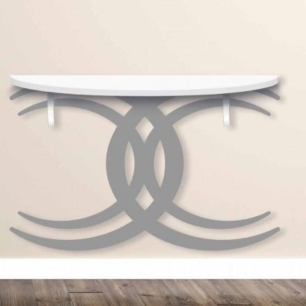 Consola de perete pentru design modern din lemn alb și gri - Coco