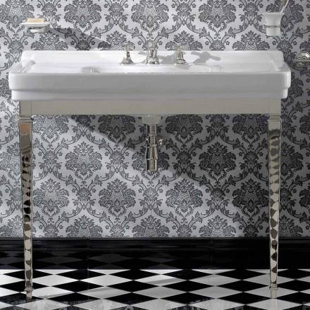 Consola de baie din ceramică albă de 105 cm cu picior, fabricată în Italia - Marwa