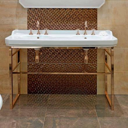 Consola de baie L 135 cm cu bol dublu în ceramică cu picioare - Nausica
