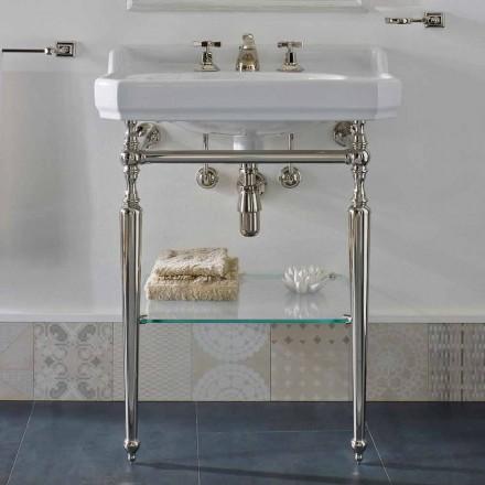 Consola de baie din ceramica de 65 cm cu picioare din metal fabricate în Italia Nausica
