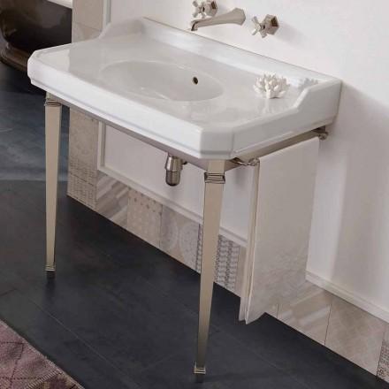 Consola de baie vintage de 90 cm, din ceramică albă, cu picioare făcute în Italia - Nausica