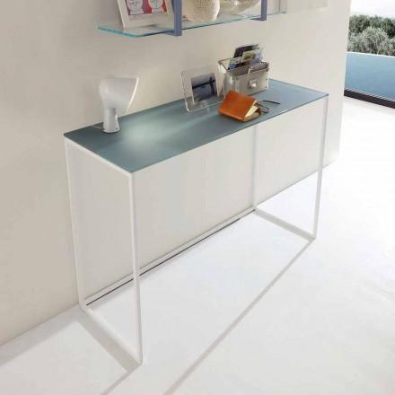 Consolă metalică pentru sufragerie cu cristal Top Made in Italy - Iridio