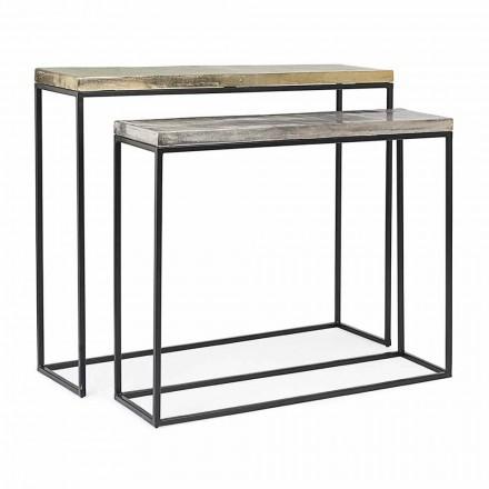 Consolă de design industrial minim din oțel 2 piese Homemotion - Rambutan