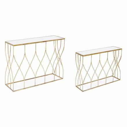 Consolă elegantă din oțel și sticlă cu design modern și glamour 2 piese - Irene