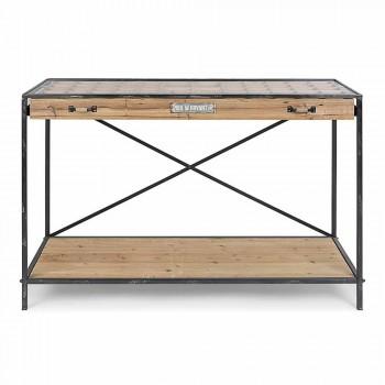 Afișaj consolă din lemn de pin, oțel și sticlă de design - Frigerio