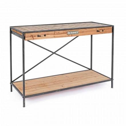 Afișaj consolă din lemn de pin și sticlă, stil industrial - Frigerio