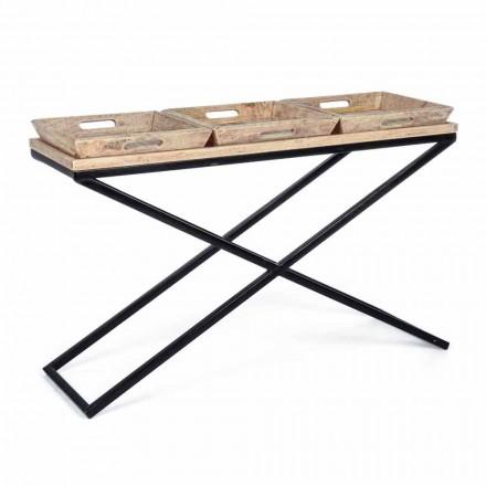 Consolă din oțel și lemn de mango cu tăvi de design industrial - Zăbrele