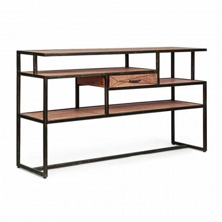 Consolă din lemn și oțel de salcâm cu design sertar Homemotion - Cristoforo