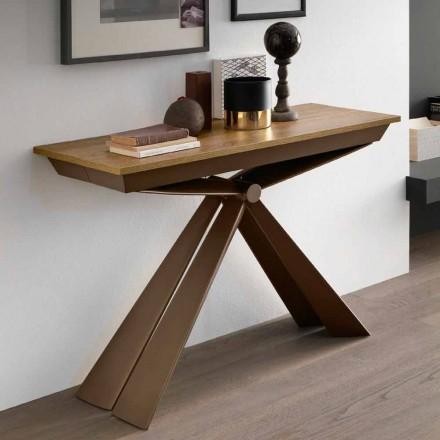 Consolă de masă din lemn și metal extensibilă Până la 295 cm Fabricat în Italia - Timedio