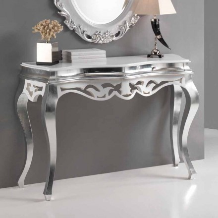 Consola din lemn în stil clasic, finisaj argintiu și alb Creta