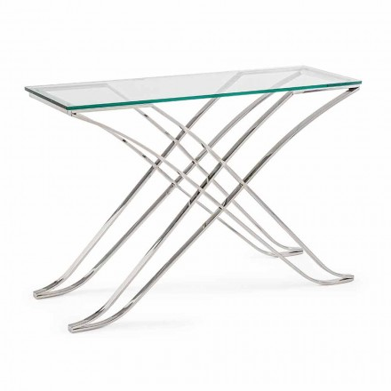 Consolă din sticlă temperată și bază din oțel Design modern Homemotion - Zafira