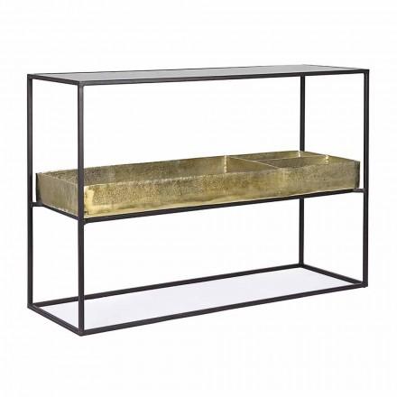 Consolă de design industrial în oțel și sticlă Homemotion - Malpensa