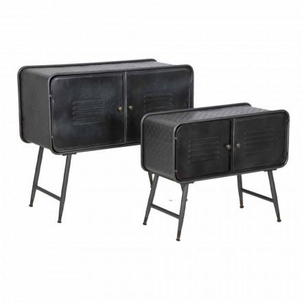 Pereche de dulapuri în stil industrial pentru design vintage de cameră de zi în fier - cuna