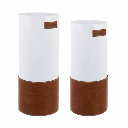 Pereche de suport pentru umbrele moderne din oțel și piele Homemotion - Umbro