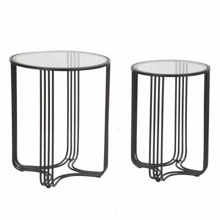 Pereche de mese rotunde de cafea în design modern din sticlă și fier - Ezra