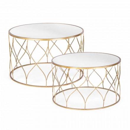 Pereche de mese de cafea rotunde în sticlă și oțel Homemotion - Amarillide