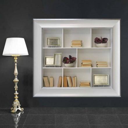 Tommaso bibliotecă de perete cu compartimente din lemn, lucrate manual în Italia