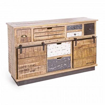 Buffet cu structură din lemn de mango și oțel în stil industrial - Vidia