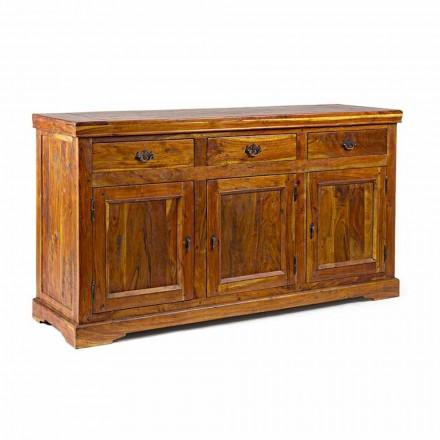 Buffet cu design clasic, finisaj rustic din lemn de salcâm masiv - Malaya