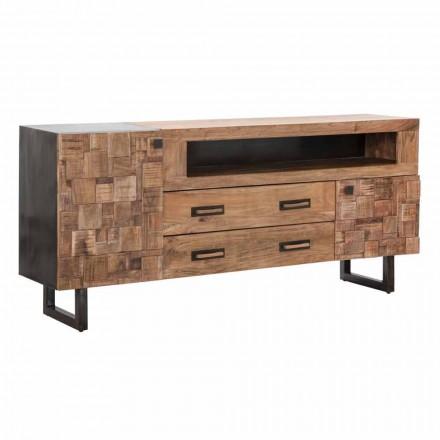 Design Design în lemn de salcâm și fier cu 2 uși și 2 sertare - Dalya