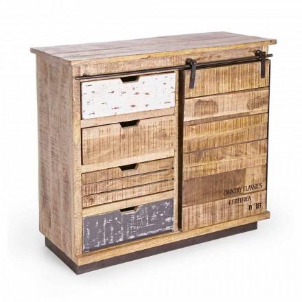 Buffet din lemn și oțel cu ușă și 4 sertare stil industrial - Renza