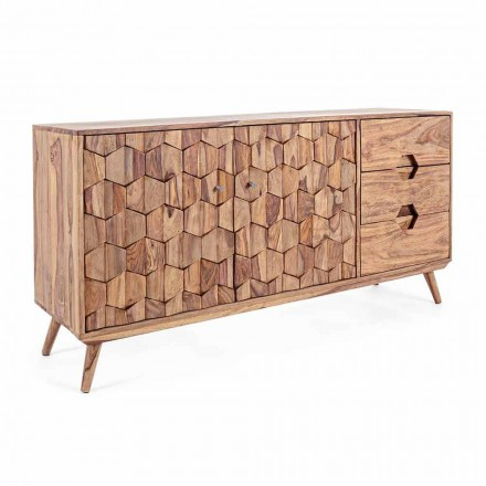Buffet din lemn de finisaj natural cu uși și sertare Homemotion - Ventador