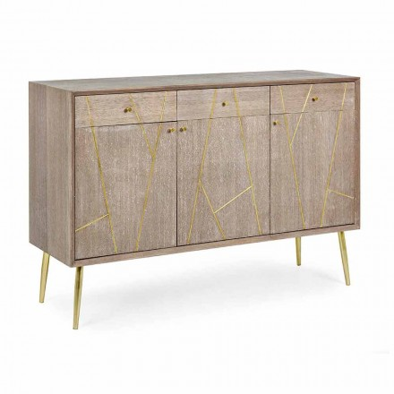 Buffet din lemn de tec cu inserții din oțel auriu stil vintage - Mayra