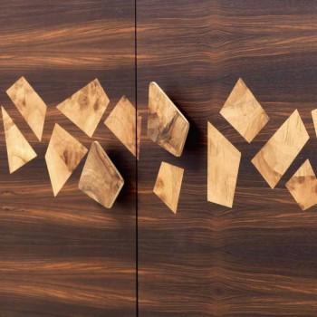 Grilli Zarafa modernă cu 3 uși în lemn de nuc și lemn de abanos